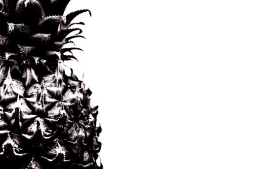 Close-up of half a pineapple. Black and white - slon.pics - free stock photos and illustrations