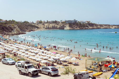 Crowded summer beach. High angle view - slon.pics - free stock photos and illustrations