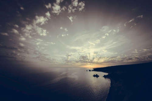 Sunset over the sea. Toned photo - slon.pics - free stock photos and illustrations