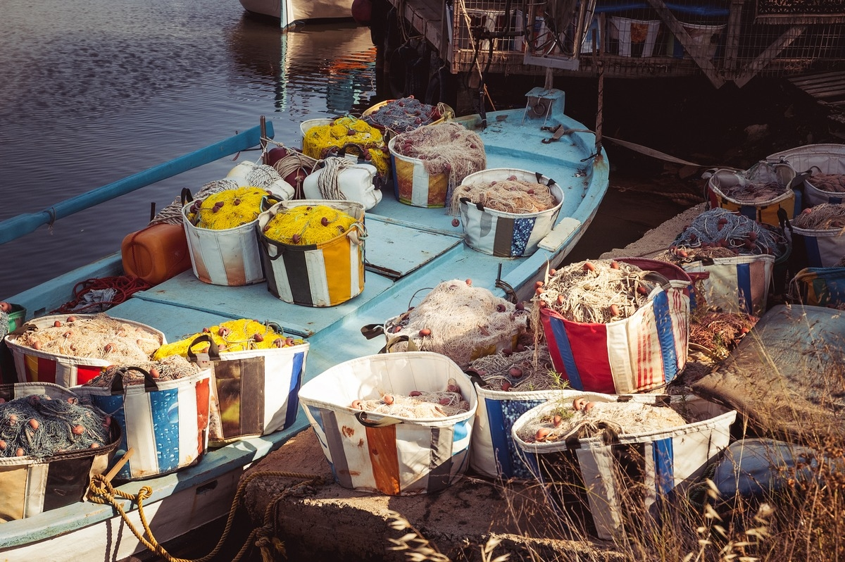 Wooden fishing boat with fishing gear - slon.pics - free stock photos and illustrations