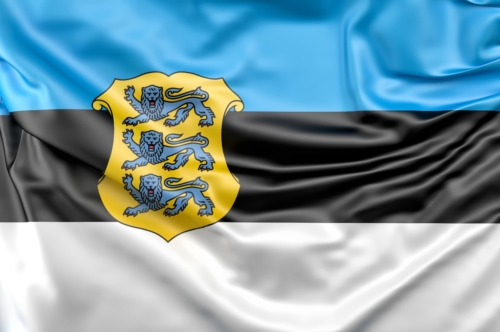 Flag of Estonia with coat of arms - slon.pics - free stock photos and illustrations