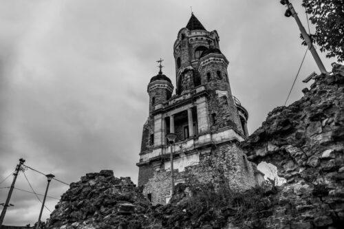 Gardos Tower in Zemun. Black and white. Belgrade, Republic of Serbia - slon.pics - free stock photos and illustrations