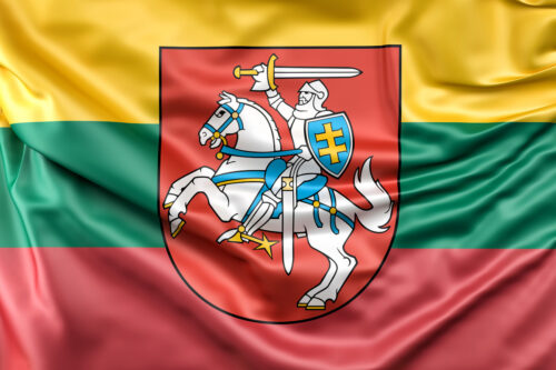 Flag of Lithuania with Coat of Arms - slon.pics - free stock photos and illustrations