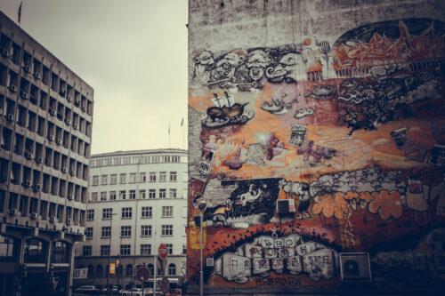 Graffiti on the walls at Savamala in Belgrade. Belgrade, Serbia, September 25, 2015 - slon.pics - free stock photos and illustrations