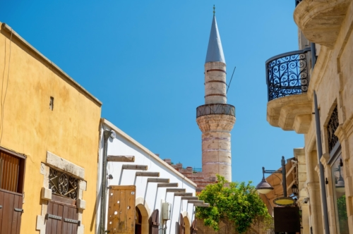 Limassol old town. Street leading to The Great Mosque (Cami Kebir). Limassol, Cyprus - slon.pics - free stock photos and illustrations