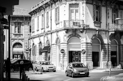 Mediterranean city street. Black and white - slon.pics - free stock photos and illustrations