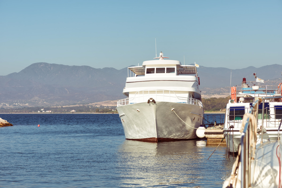 Passenger cruise ship anchored in port. Somewhere in Cyprus - slon.pics - free stock photos and illustrations
