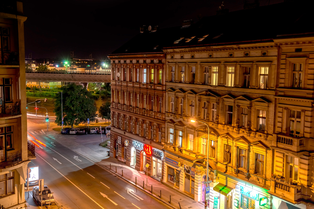 Prague, street view at night. Czech Republic - slon.pics - free stock photos and illustrations
