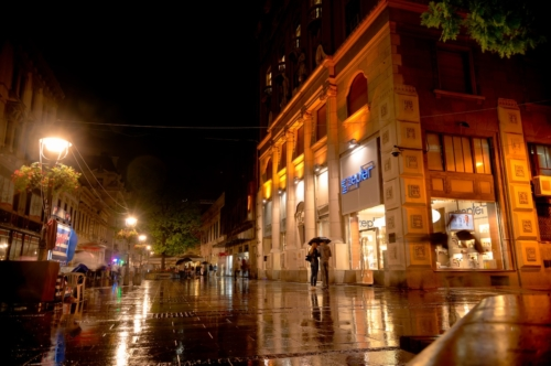 Rainy night at Knez Mihailova Street. Belgrade, Serbia, September 25, 2015 - slon.pics - free stock photos and illustrations