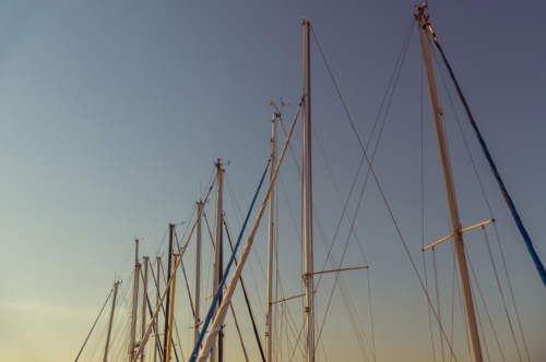 Sailboat masts in marina at dusk - slon.pics - free stock photos and illustrations