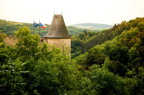Side tower of Karlstejn Castle. Central Bohemia, Karlstejn village, Czech Republic - slon.pics - free stock photos and illustrations