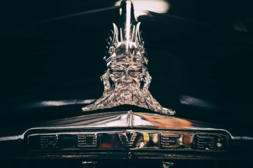 Viking Head. Rover Car Bonnet on the front of a vintage car - slon.pics - free stock photos and illustrations