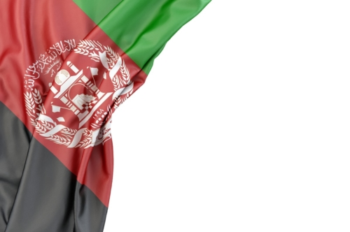 Flag of Afghanistan in the corner on white background. Isolated, contains clipping path - slon.pics - free stock photos and illustrations