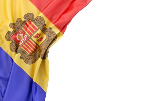 Flag of Andorra in the corner on white background. Isolated, contains clipping path - slon.pics - free stock photos and illustrations