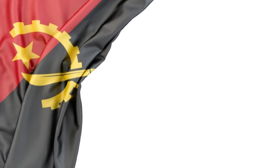 Flag of Angola in the corner on white background. Isolated, contains clipping path - slon.pics - free stock photos and illustrations