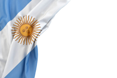 Flag of Argentina in the corner on white background. Isolated, contains clipping path - slon.pics - free stock photos and illustrations