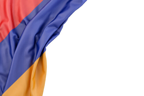 Flag of Armenia in the corner on white background. Isolated, contains clipping path - slon.pics - free stock photos and illustrations