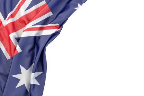 Flag of Australia in the corner on white background. Isolated, contains clipping path - slon.pics - free stock photos and illustrations