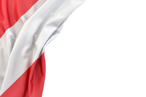 Flag of Austria in the corner on white background. Isolated, contains clipping path - slon.pics - free stock photos and illustrations