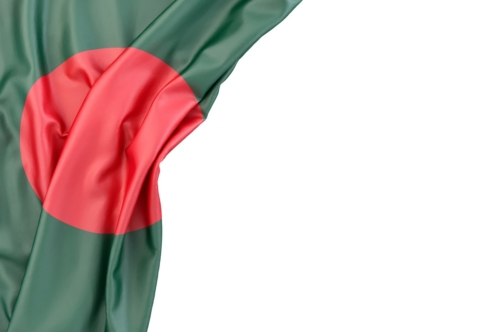 Flag of Bangladesh in the corner on white background. Isolated, contains clipping path - slon.pics - free stock photos and illustrations