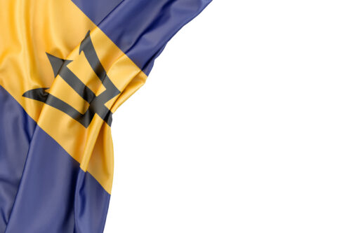 Flag of Barbados in the corner on white background. Isolated, contains clipping path - slon.pics - free stock photos and illustrations