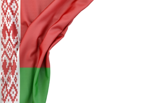 Flag of Belarus in the corner on white background. Isolated, contains clipping path - slon.pics - free stock photos and illustrations