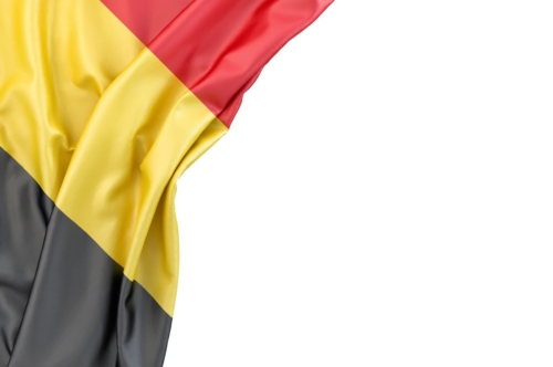 Flag of Belgium in the corner on white background. Isolated, contains clipping path - slon.pics - free stock photos and illustrations