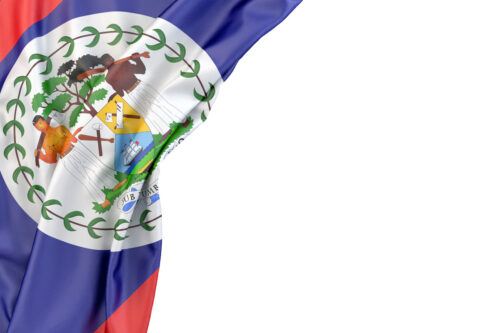 Flag of Belize in the corner on white background. Isolated, contains clipping path - slon.pics - free stock photos and illustrations