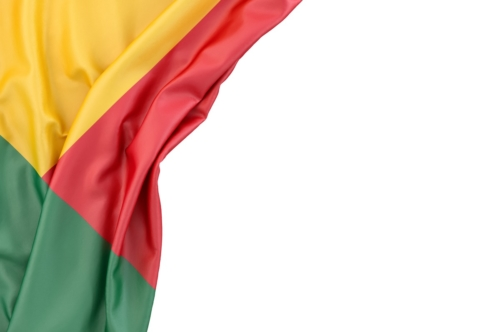 Flag of Benin in the corner on white background. Isolated, contains clipping path - slon.pics - free stock photos and illustrations