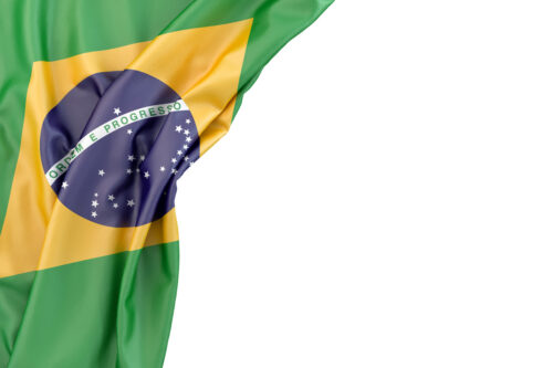 Flag of Brazil in the corner on white background. Isolated, contains clipping path - slon.pics - free stock photos and illustrations