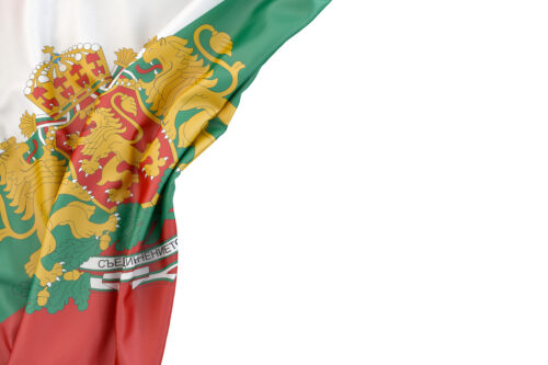 Flag of Bulgaria with coat of arms in the corner on white background. Isolated, contains clipping path - slon.pics - free stock photos and illustrations