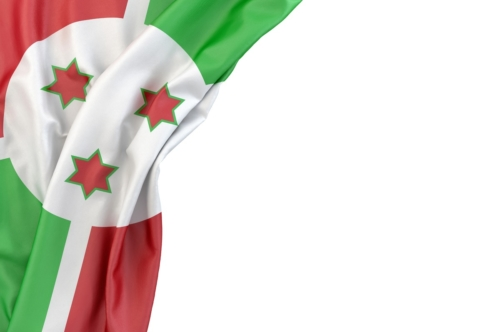 Flag of Burundi in the corner on white background. Isolated, contains clipping path - slon.pics - free stock photos and illustrations