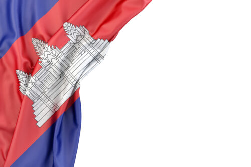 Flag of Cambodia in the corner on white background. Isolated, contains clipping path - slon.pics - free stock photos and illustrations