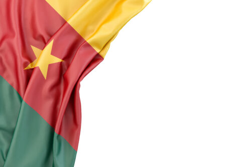 Flag of Cameroon in the corner on white background. Isolated, contains clipping path - slon.pics - free stock photos and illustrations