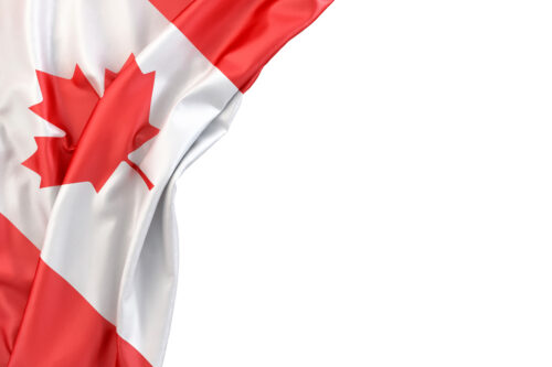 Flag of Canada in the corner on white background. Isolated, contains clipping path - slon.pics - free stock photos and illustrations
