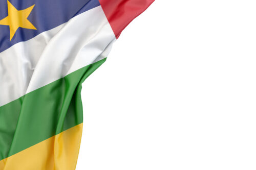 Flag of Central African Republic in the corner on white background. Isolated, contains clipping path - slon.pics - free stock photos and illustrations