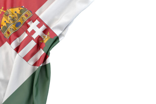 Flag of Hungary with coat of arms in the corner on white background. Isolated, contains clipping path - slon.pics - free stock photos and illustrations