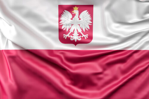 Flag of Poland with coat of arms - slon.pics - free stock photos and illustrations