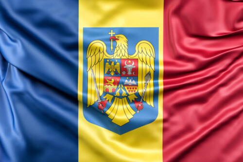 Flag of Romania with coat of arms - slon.pics - free stock photos and illustrations