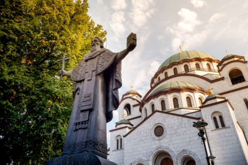 Statue of St. Sava with Church on background. Belgrade, Serbia - slon.pics - free stock photos and illustrations