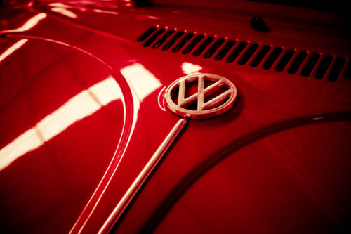 Volkswagen logo on a front of retro car - slon.pics - free stock photos and illustrations