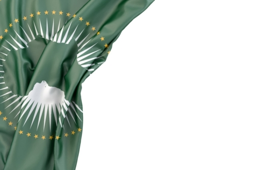 Flag of African Union in the corner on white background. Isolated, contains clipping path - slon.pics - free stock photos and illustrations