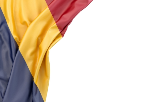 Flag of Chad in the corner on white background. Isolated, contains clipping path - slon.pics - free stock photos and illustrations
