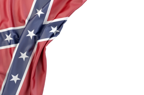 Flag of Confederate States of America in the corner on white background. Isolated, contains clipping path - slon.pics - free stock photos and illustrations