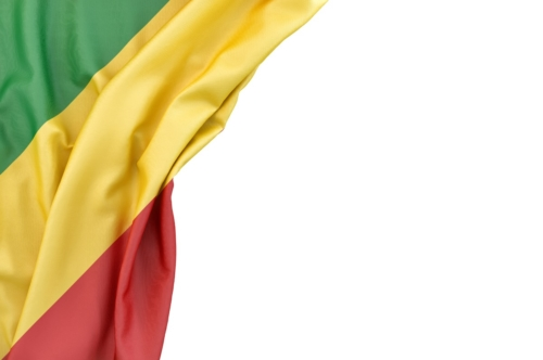 Flag of Congo in the corner on white background. Isolated, contains clipping path - slon.pics - free stock photos and illustrations