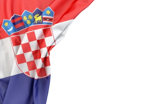 Flag of Croatia in the corner on white background. Isolated, contains clipping path - slon.pics - free stock photos and illustrations