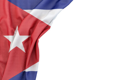 Flag of Cuba in the corner on white background. Isolated, contains clipping path - slon.pics - free stock photos and illustrations