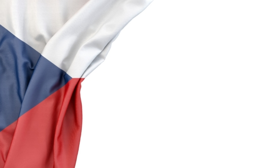 Flag of Czech Republic in the corner on white background. Isolated, contains clipping path - slon.pics - free stock photos and illustrations