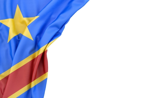 Flag of Democratic Republic of the Congo in the corner on white background. Isolated, contains clipping path - slon.pics - free stock photos and illustrations