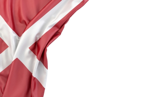 Flag of Denmark in the corner on white background. Isolated, contains clipping path - slon.pics - free stock photos and illustrations